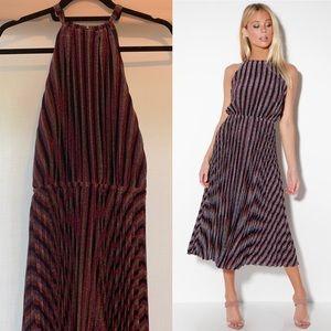 Lulus Purple Multi Striped Pleated Halter Dress